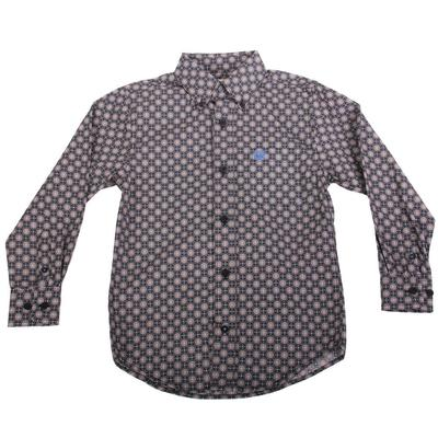 Cinch Boy's Multicolored Plain Weave Button Down Shirt