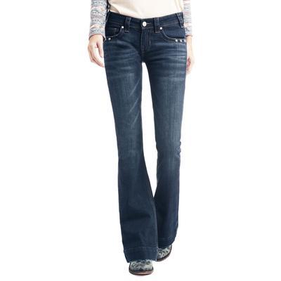 Rock&Roll Women's Low Rise Dark Wash Trouser Jeans