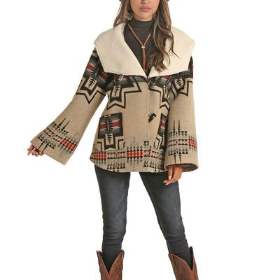 Panhandle Women's Aztec Wool Cape Coat