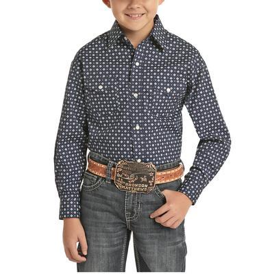 Panhandle Boy's Indigo Geometric Snap Up Shirt