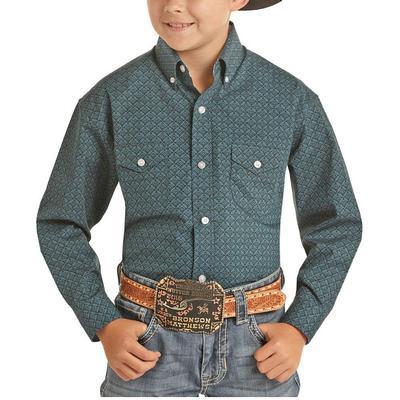 Panhandle Boy's Indigo Geometric Button Down Shirt