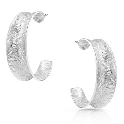 Montana Silversmiths Glacier Saddle Bend Engraved Hoop Earrings