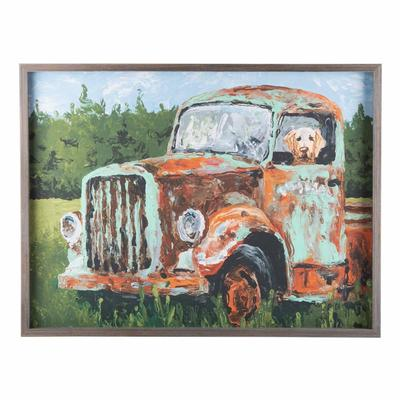 Old Green Truck with Dog Canvas
