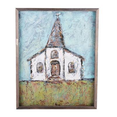 Grey Church Framed Canvas