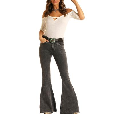 Rock&Roll Women's High Rise Bell Bottom Flare Jeans