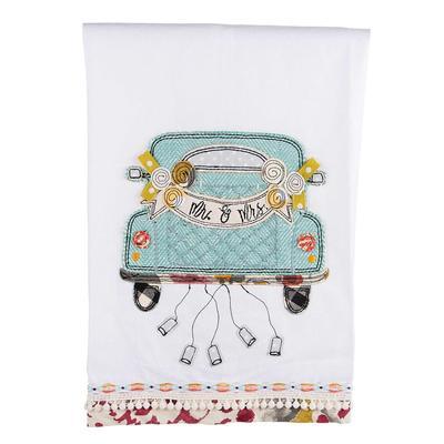 Mr. and Mrs. Wedding Car Tea Towel