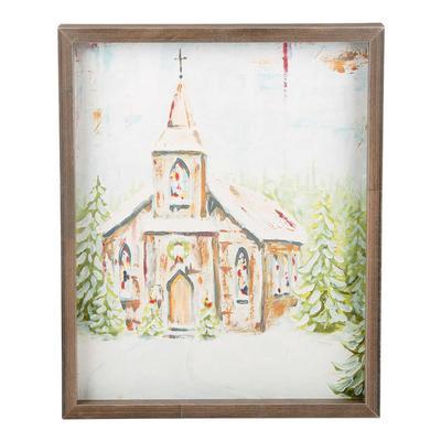 Church at Christmas Small Framed Canvas