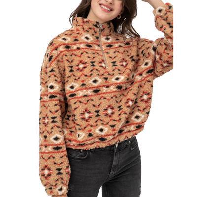 Love Tree Women's Camel Aztec Sherpa Pullover