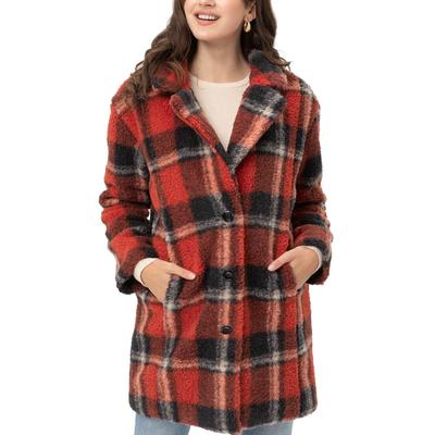 Love Tree Women's Plaid Button-Down Coat