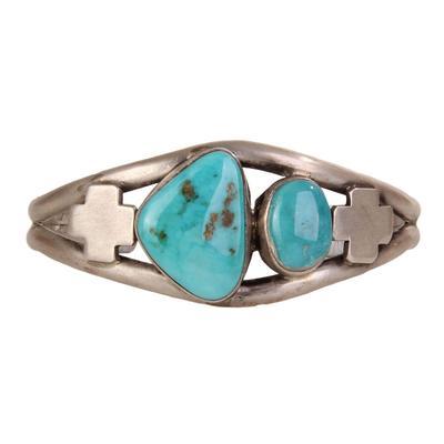 Sterling Silver Turquoise Cross Cuff Bracelet
