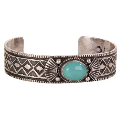 Sterling Silver Turquoise Stamped Cuff Bracelet