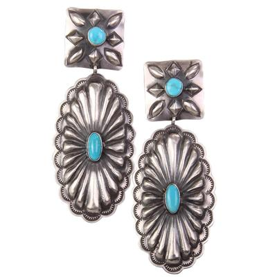 Sterling Silver Large Turquoise Concho Earrings