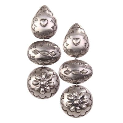 Sterling Silver Triple Concho Dome Earrings
