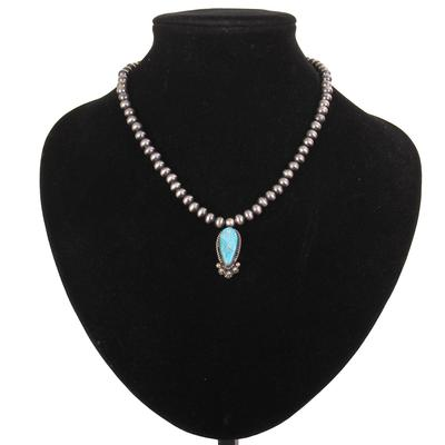 Sterling Silver 18 Inch Beaded Turquoise Pendant Necklace