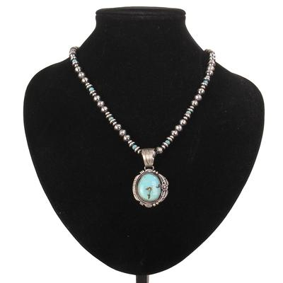 Sterling Silver 20 Inch Beaded Turquoise Pendant Necklace