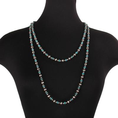 Sterling Silver 60 Inch Turquoise Wrap Necklace