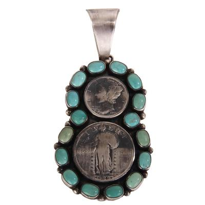 Sterling Silver Turquoise and 2 Coin Pendant