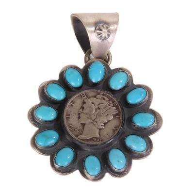 Sterling Silver Turquoise Mercury Dime Pendant