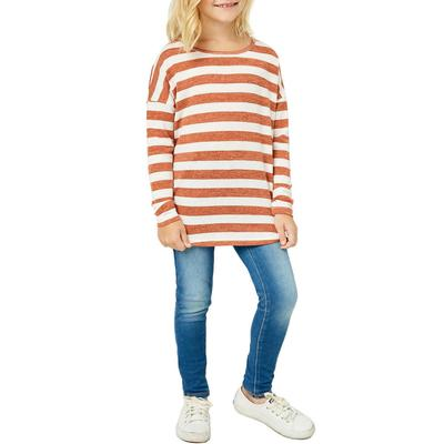 Hayden Girl's Drop Shoulder Striped Knit Top