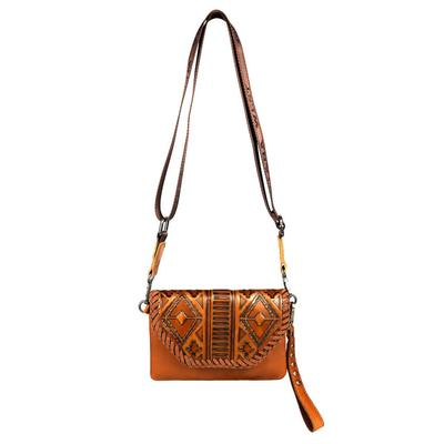Montana West Leather Tooled Crossbody Clutch