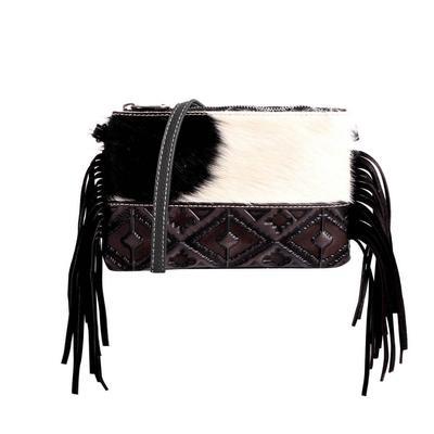 Montana West Hair-On Hide Fringe Crossbody Clutch