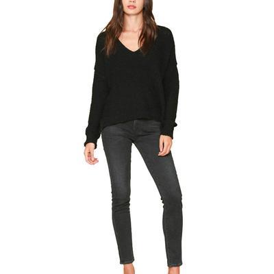 Women's Black V-Neck Knit Sweater