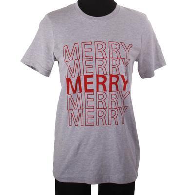 Women's Grey Merry Graphic T-Shirt