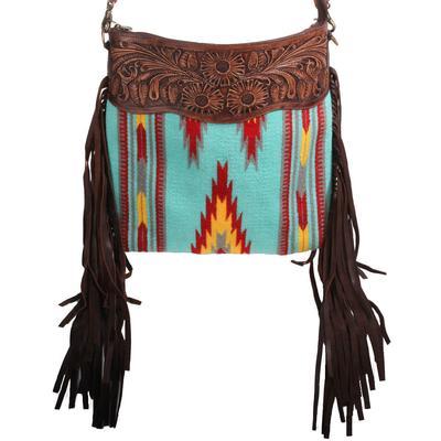 American Darling Tooled Aztec Fringe Crossbody