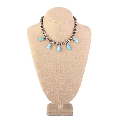 Sterling Silver Kingman Turquoise Beaded Necklace