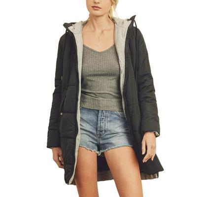 Women's Black Hooded Puffer Jacket