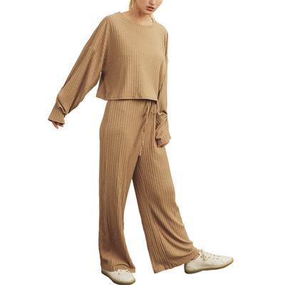 Women's Taupe Ribbed Knit Lounge Set