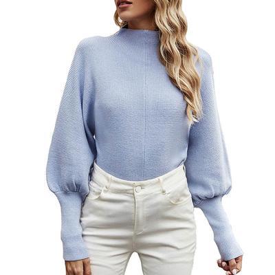 Women's Balloon Sleeve Mock Neckline Sweater
