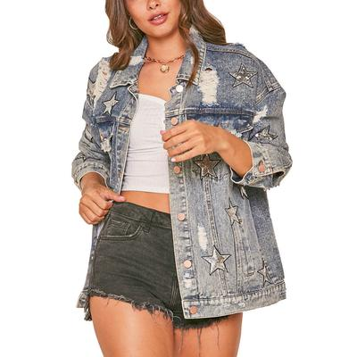 Women's Star Patch Distressed Denim Jacket