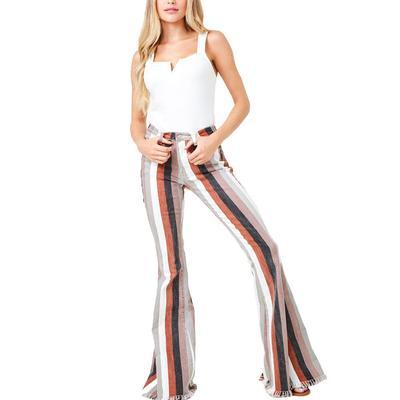 Women's Multi Striped Denim Flare Jeans