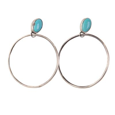 Women's Turquoise Stud Hoop Earrings