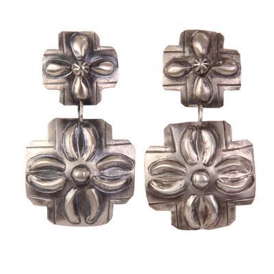 Women's Square Concho Cross Earrings