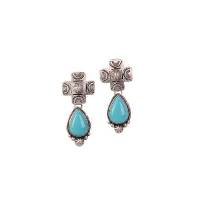Sterling Silver Cross Post Turquoise Earrings