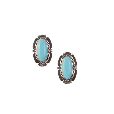 Sterling Silver Large Turquoise Stone Earrings