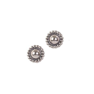 Sterling Silver Concho Pearl Stud Earrings