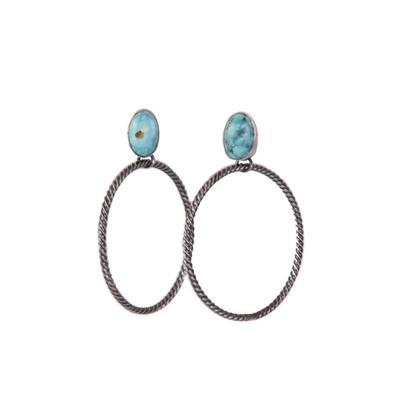 Women's Turquoise Braided Hoop Earrings