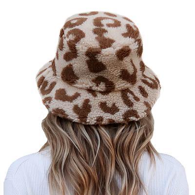 Women's Cream Leopard Sherpa Bucket Hat