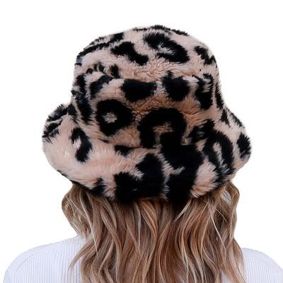Women's Beige Cheetah Sherpa Bucket Hat