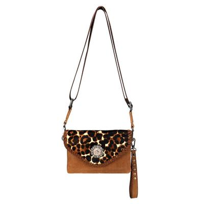 Montana West Leopard and Leather Clutch Crossbody