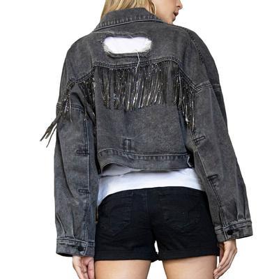 Women's Rhinestone Fringe Denim Jacket