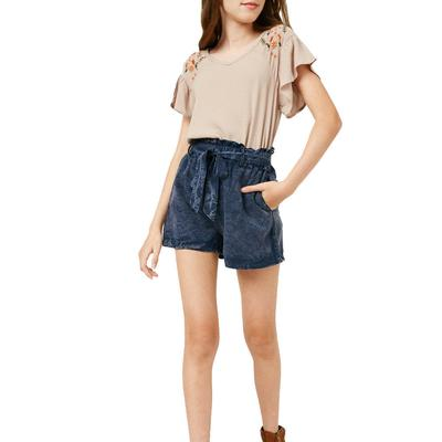 Hayden Girl's Belted Tencel Shorts