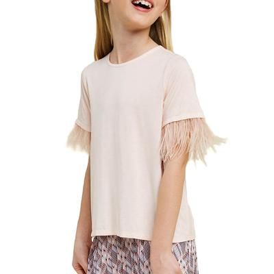 Hayden Girl's Feather Sleeve T-Shirt