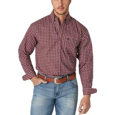 Wrangler Men's Classic Geometric Print Button Down Shirt