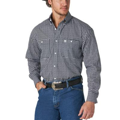 Wrangler Men's Navy Print Button Down Shirt