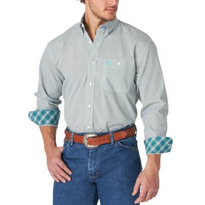 Men's Wrangler Teal Print Button Down Shirt