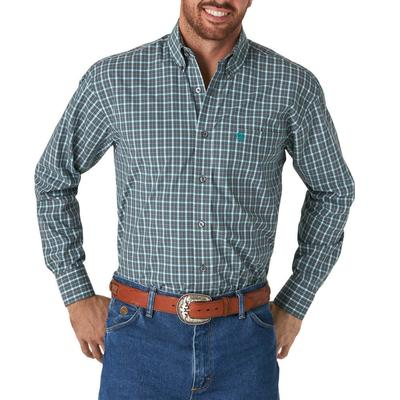 Wrangler Men's Grey Plaid Button Down Shirt